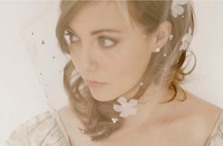 soft romantic bridal veil flower adorned