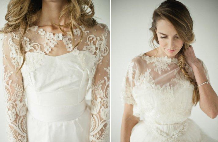 floral lace wedding bolero sheer illusion fabric sleeves wedding trend