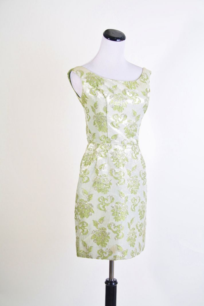 green silver jacquard bridesmaid dress
