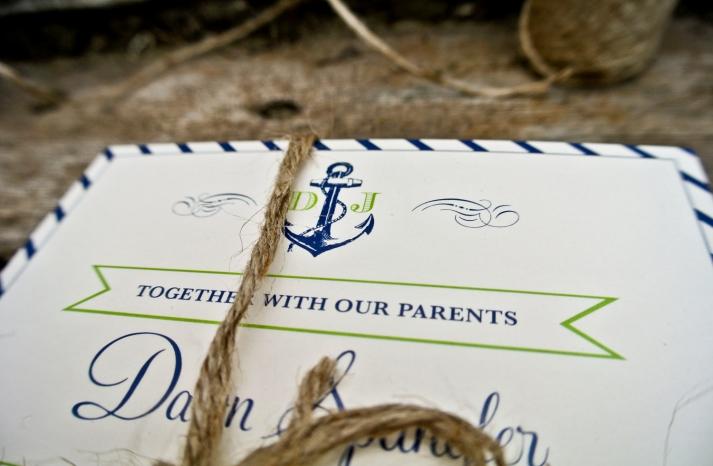 navy green ivory wedding invitations nautical theme