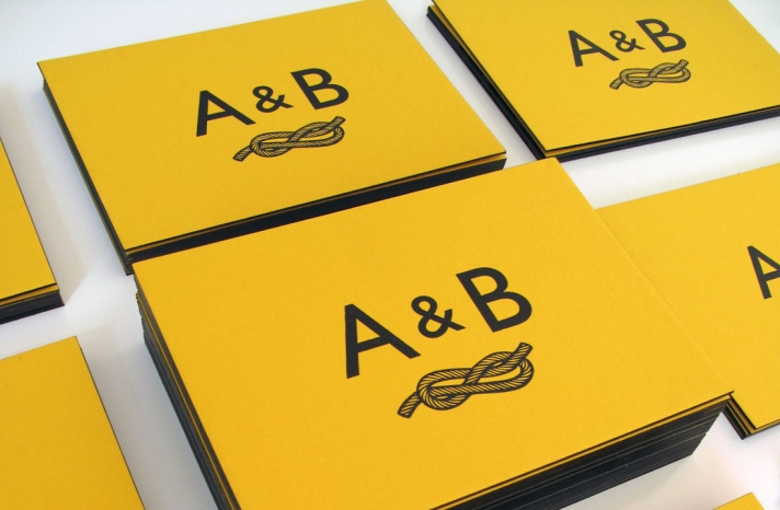 yellow wedding invitations tie the knot