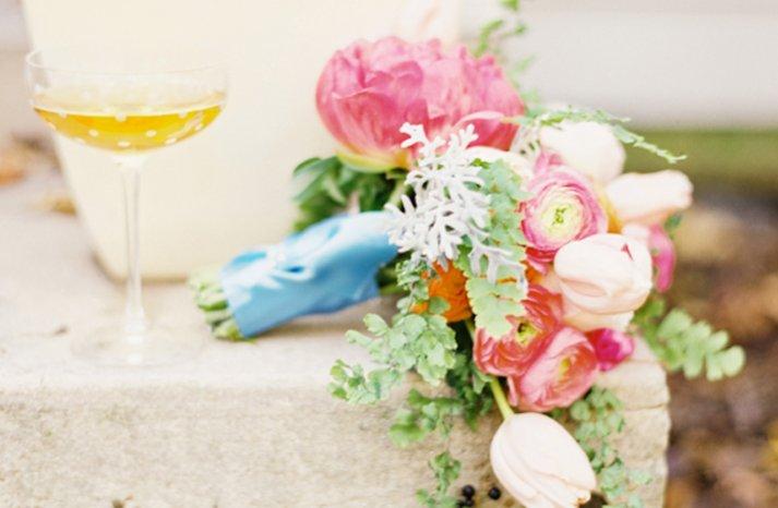 romantic bridal bouquet for outdoor wedding anemones tulips