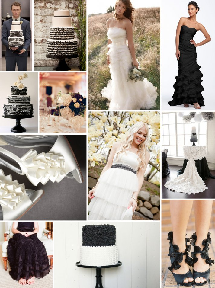 black white ruffly wedding inspiration