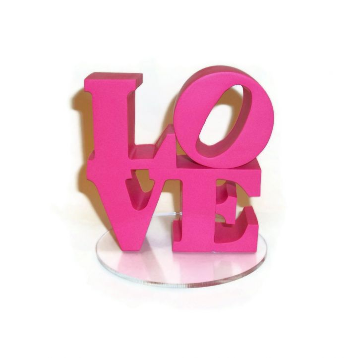 hot pink wedding cake topper LOVE themed weddings