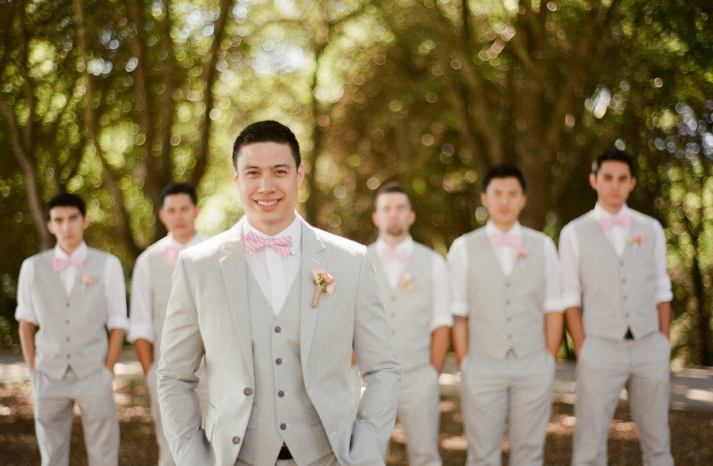 light pink khaki wedding colors groom with groomsmen