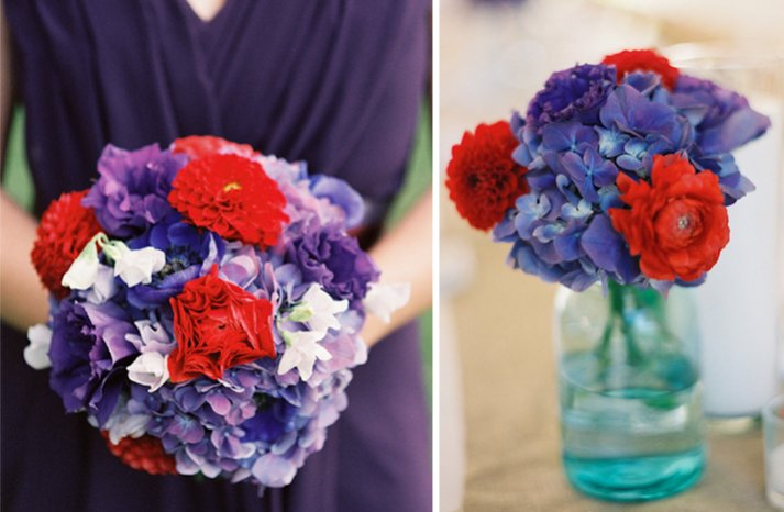 red purple wedding color palette bridesmaid bouquet ceremony flowers