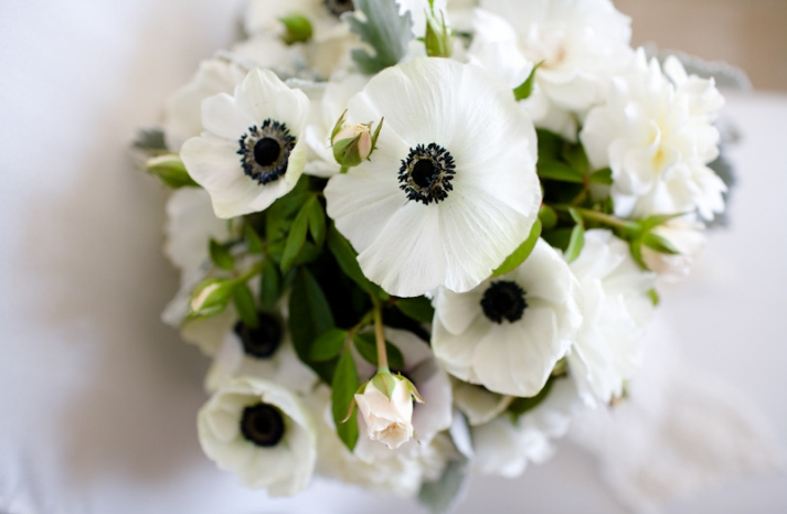 black white green wedding flowers anemones