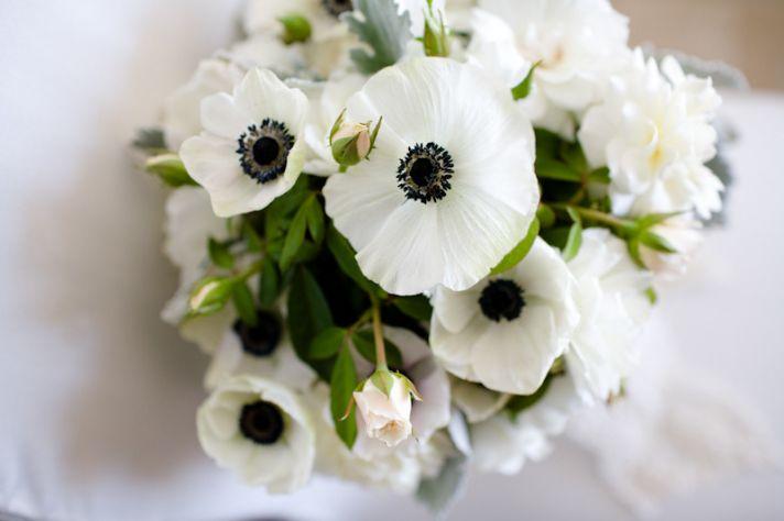 black white green wedding flowers anemones