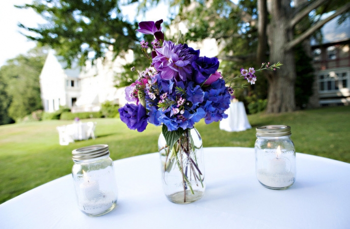 mason jar wedding centerpieces purple blue flowers