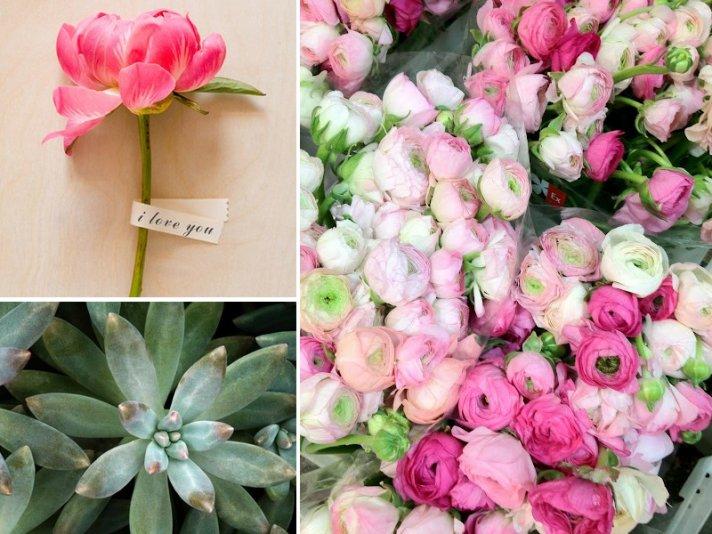 wedding flower inspiration peonies ranunculus succulents