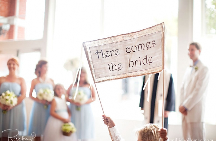 burlap wedding sign here comes the bride rustic weddings