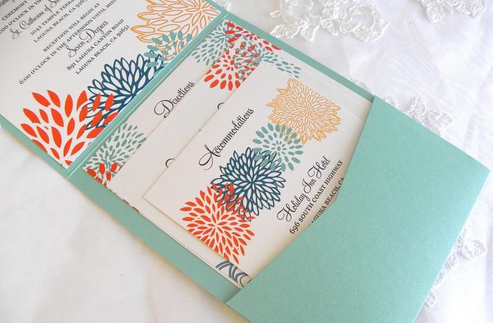 aqua coral gold wedding invitations handmade wedding stationery