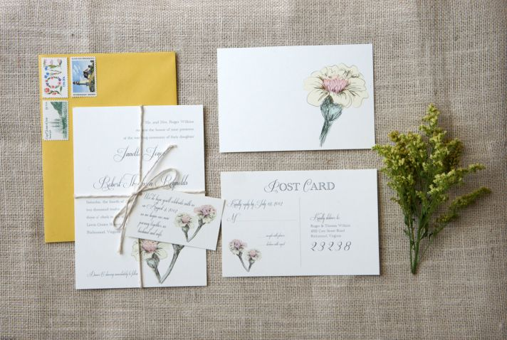 romantic vintage floral wedding invitations pastels