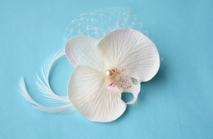 etsy wedding treasures for your handmade wedding glam feathers orchid bridal hair accessory