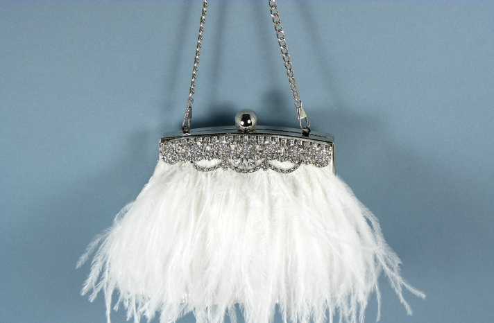 ostrich feather bridal clutch white with crystals