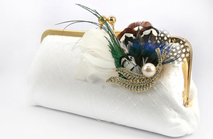 elegant lace feather bridal clutch vintage brooch with pearls