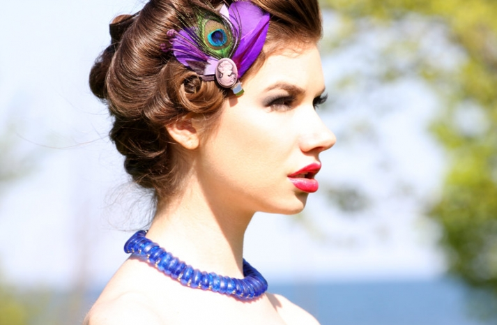vintage wedding accessories bridesmaid updo red lips feather fascinator