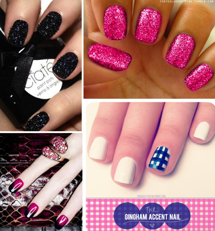 Pink And Black Nail Designs With Glitter