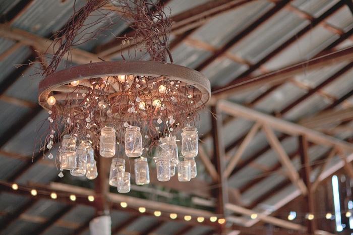rustic wedding DIY mason jar chandelier