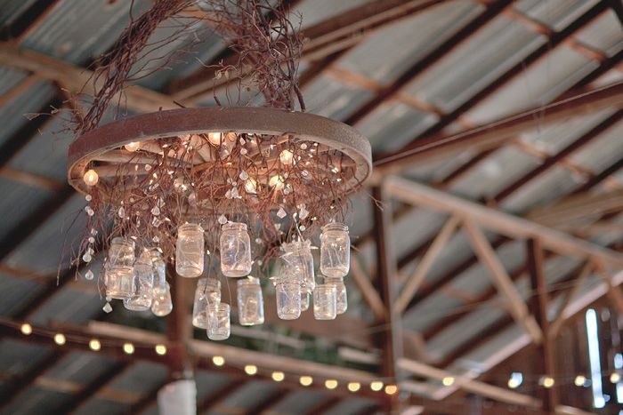rustic wedding DIY mason jar chandelier