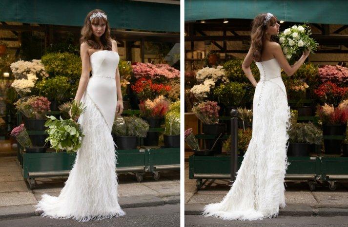 vintage inspired wedding dress stephanie allin feather embellished skirt