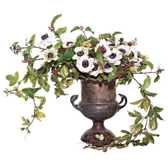 unique wedding centerpiece Anemones blackberries sumac passion vine faux bird s nest
