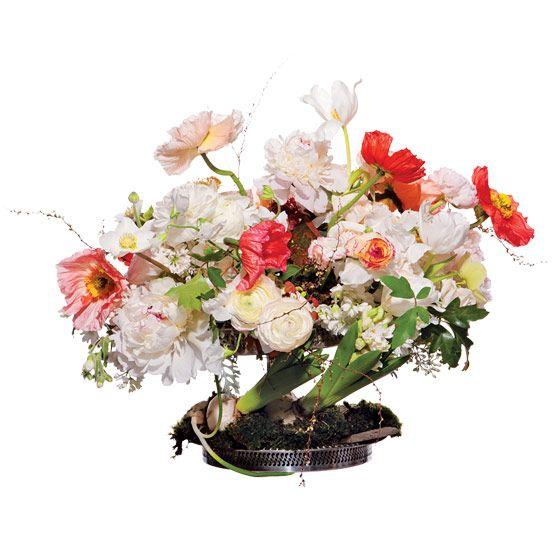 unique wedding centerpiece Icelandic poppies Majolica spray roses peonies ranunculus sweet pea lilac