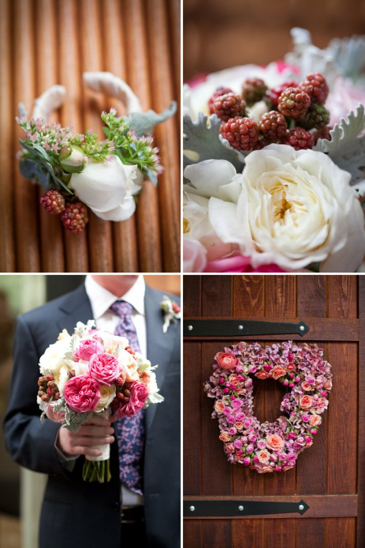 edible wedding flower accents berries in bridal bouquet