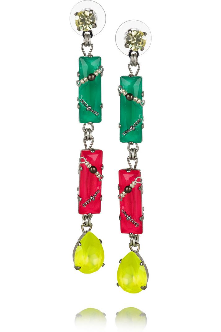 neon bridal earrings for a vibrant white aisle look 1