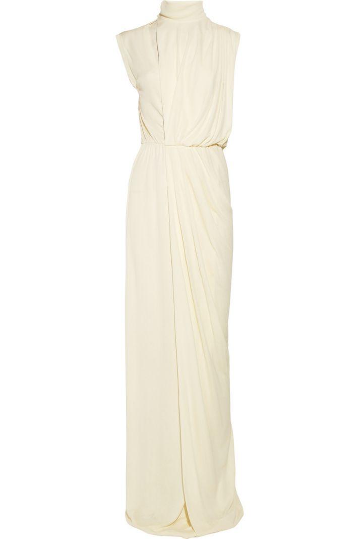 draped crepe wedding dress high neck