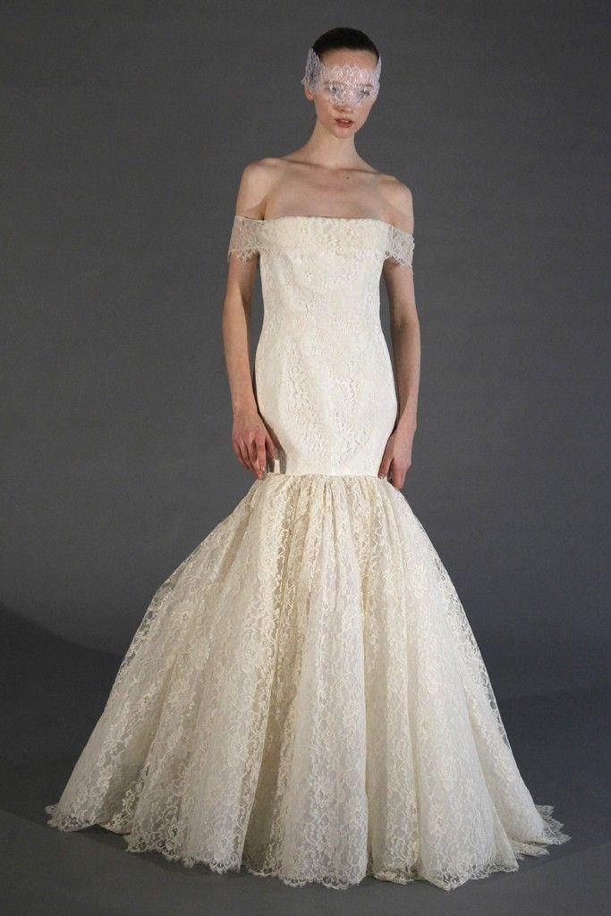 deep cream off the shoulder wedding dress lace douglas hannant