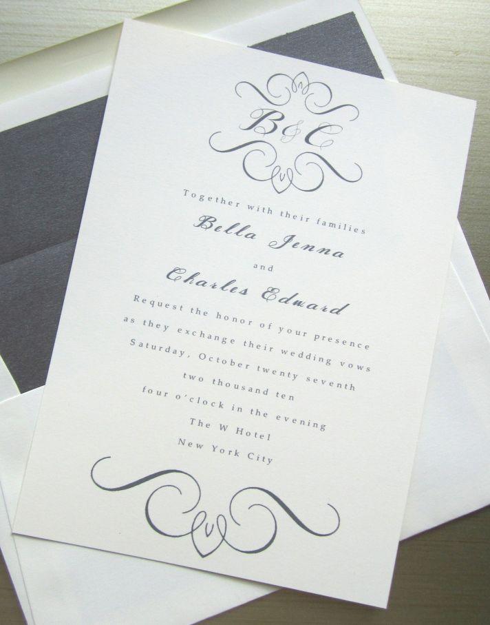 elegant wedding invites white gray with custom monogram