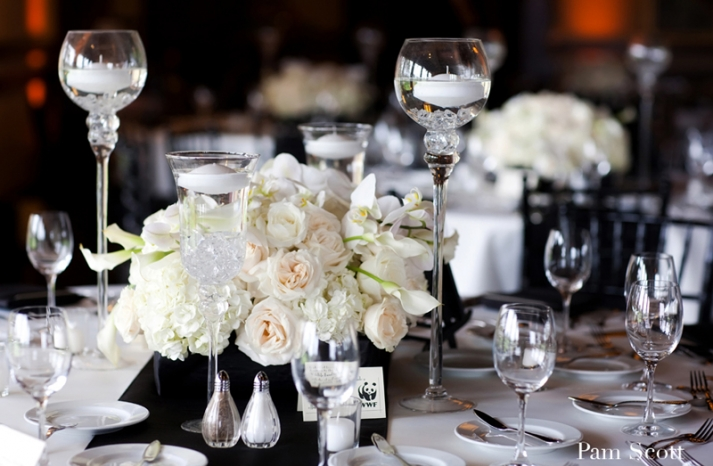 black white wedding ivory centerpiece