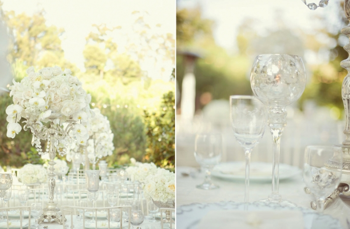 elegant ivory wedding flowers tulips lillies mercury glass 4