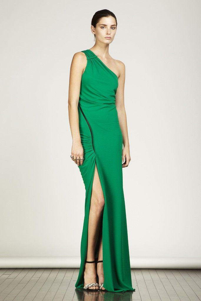 yigal azrouel20- green bridesmaid dress with slit