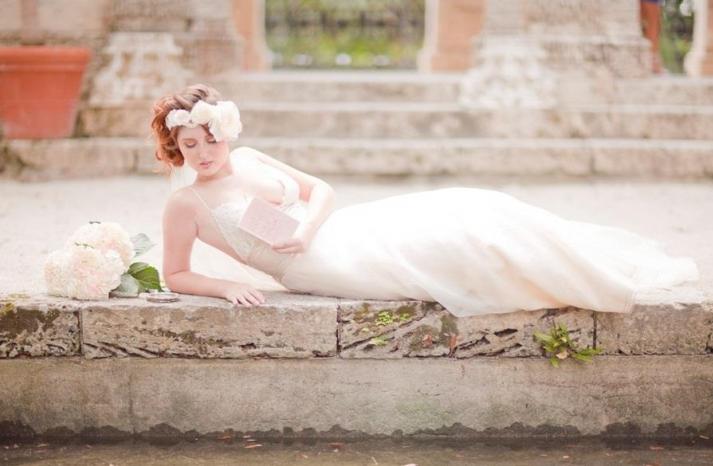 romantic bride in floral crown