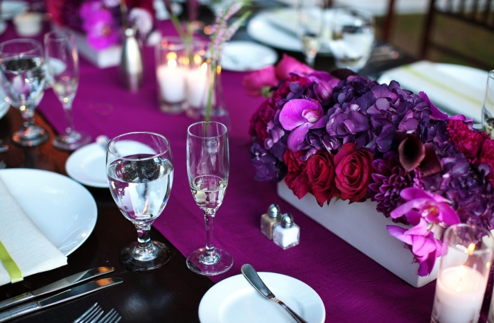 romantic purple red fuschia wedding flower centerpieces California wedding 2