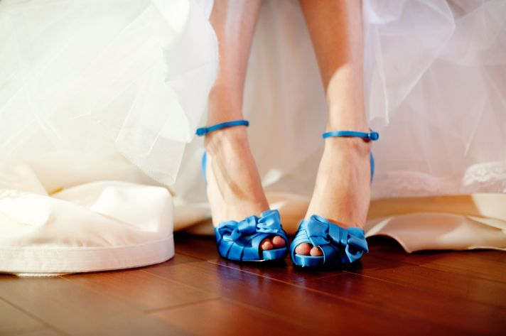 elegant real wedding with simple DIY details blue bridal heels