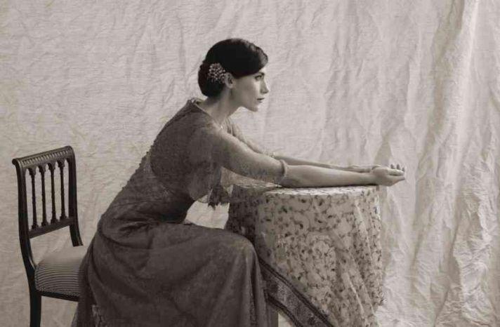 vintage beaded wedding dress with sleeves