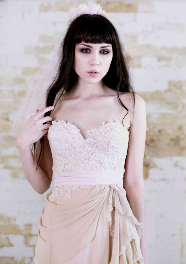 Etsy Tea Length Wedding Dress 69 Beautiful blush pink nude lace