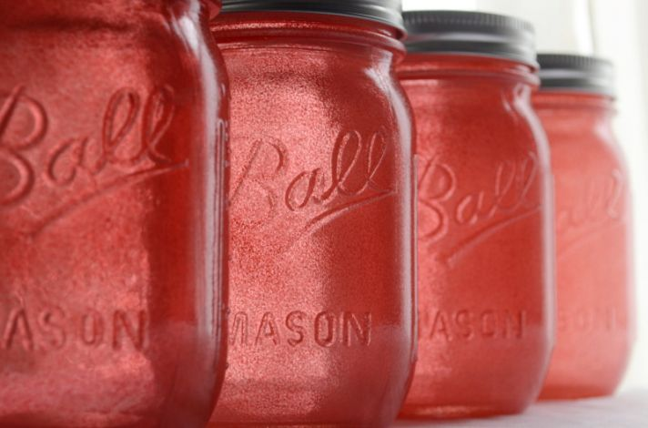 coral tinted mason jars for vintage weddings