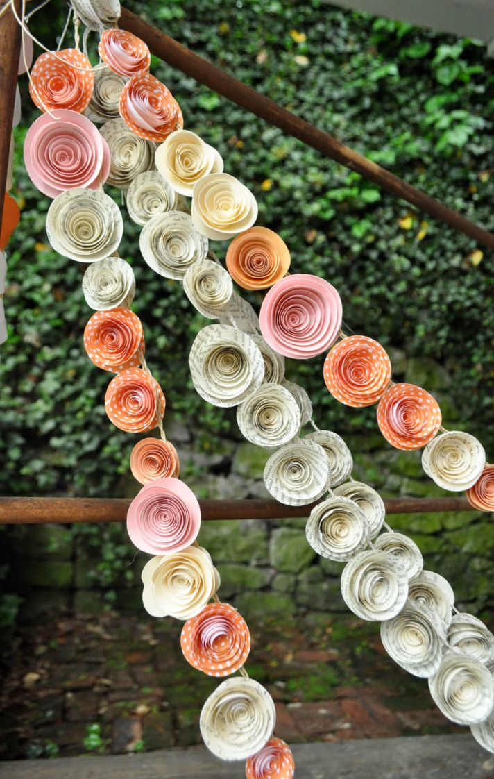 handmade wedding garland peach pink ivory