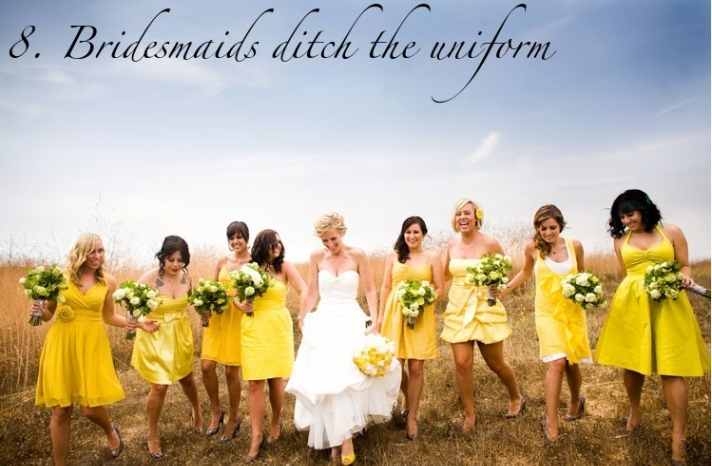 mix and match bridesmaids yellow dresses 2012 summer wedding trends