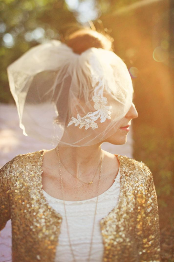 double layer bridal veil blusher with lace applique