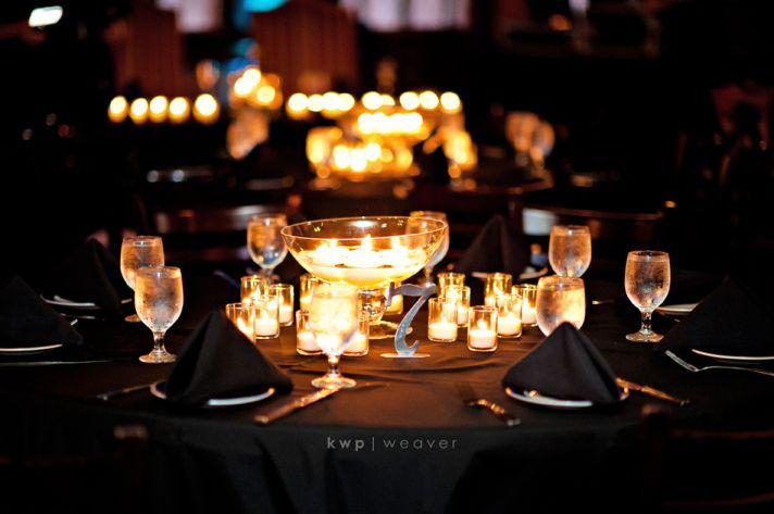 elegant wedding reception decor candlelight