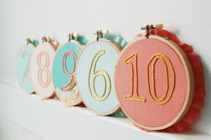 embroidered wedding table numbers