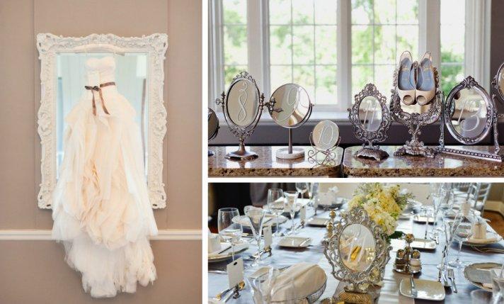 elegant wedding reception decor idea mirrors vintage glam weddings 1