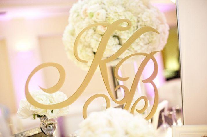 monogrammed mirror for elegant wedding reception