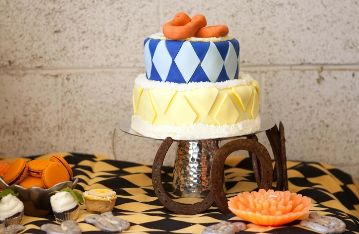 Kentucky Derby inspired wedding theme bridal shower inspiration blue yellow cake