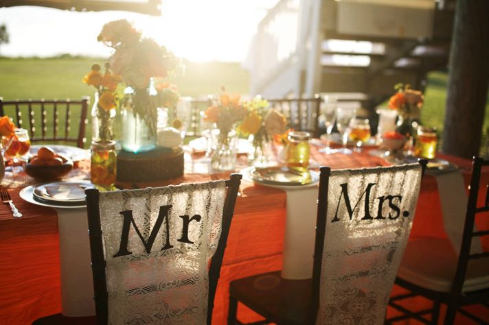 rustic citrus wedding inspiration outdoor spring wedding ideas mr mrs chairs